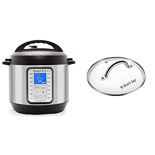 Instant Pot Duo Plus 9-in-1 Electric Pressure Cooker, Sterilizer, Slow Cooker, Rice Cooker, Steamer, Saute, 8 Quart, 15 One-Touch Programs & ant Pot Tempered Glass lid, Clear 10 Inch (26 cm) 8 Quart