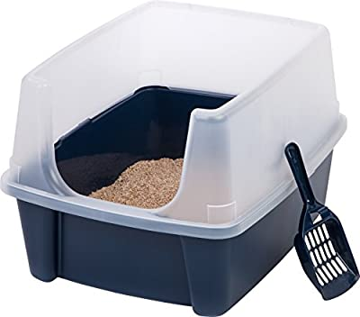 IRIS USA Open Top Cat Litter Box Kit with Shield & Scoop, Blue CLH-12