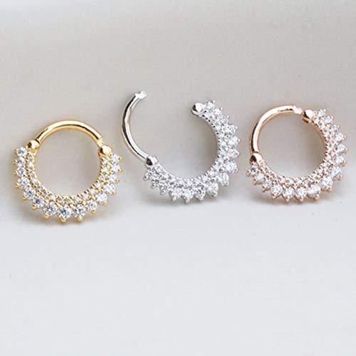 Pendientes de aro de Plata de Ley 925 para Mujer Pendientes de cartílago de perforación de Nariz Redonda de circonio Pendiente de joyería, Color Dorado