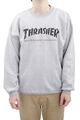 Sweat Crew Thrasher Skateboard – Schwarz Gr. XL, grau