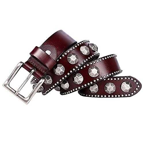 Cinturón con Tachuelas Circulares De Metal De Piel De Vaca Vintage para Hombres/Mujeres - Cinturones De Cuero De Grano Superior con Tachuelas Y Hebilla,Café,105cm/waist:34'~36'