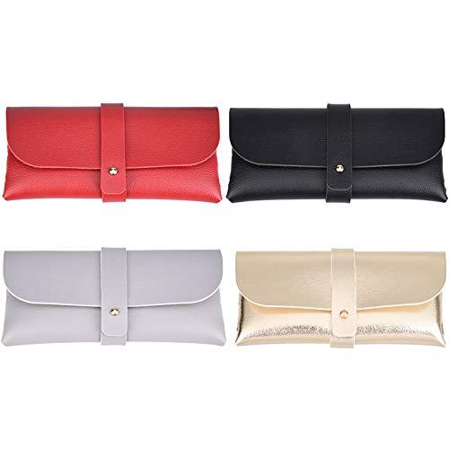 Wilxaw 4 Stück Brillenetui Leder, Brille Schutzhülle Weich mit Trägern, Sonnenbrillenetui Tragbar für Damen Mädchen (Schwarz+Grau+Rot+Gold)