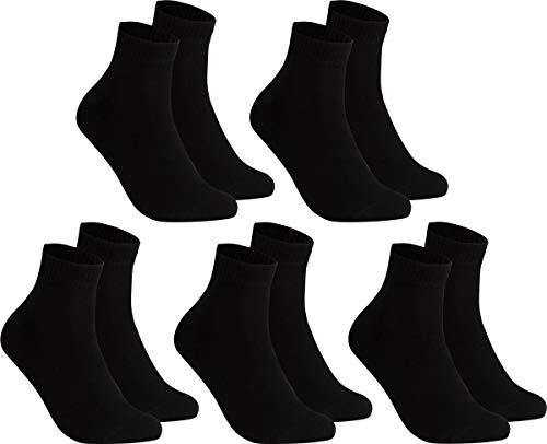 gigando – Kurze Quarter Socken Herren schwarz Baumwolle 5 Paar im Vorteilspack, atmungsaktive Kurzsocken für Alltag, Sport und Freizeit, ohne Naht, Übergröße XL, 47-49