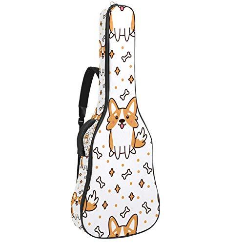 Bolsa de guitarra acústica, esponja, gruesa, resistente al agua, de nailon, suave, para almacenamiento en el hogar, viajes, correas ajustables, lindas corgi galeses