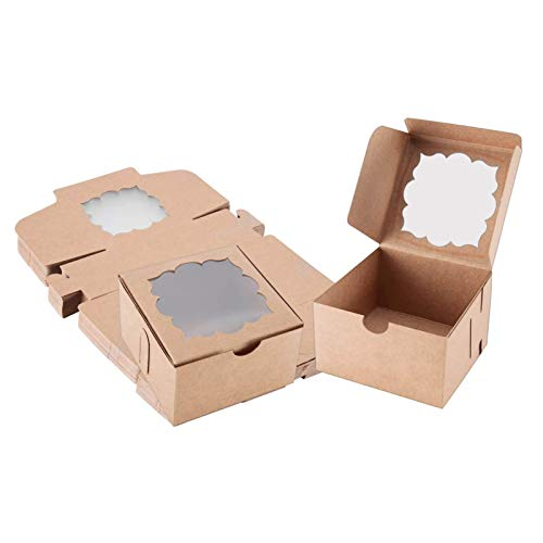 Sharlity 50 Pack Bakery Boxes with Window Pastry boxes Dessert boxes Treat boxes Cookie Boxes for Gift Giving 4x4x2.5 inches (Brown)