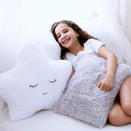 PERFECTTO Set of 2 Decorative Pillows for Girls Boys, Toddler Kids Room. White Fluffy Star and Furry Grey Pillow. Soft Plush Cute Throw Pillows for Bedroom Décor. Fun Pillows for Teepee Tent