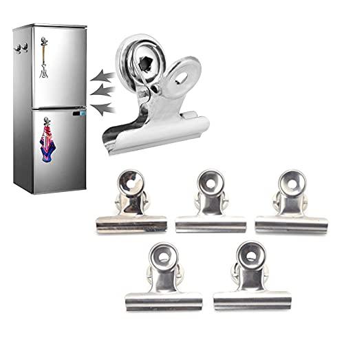 5 pinzas magnéticas, imanes fuertes de acero inoxidable de 50 mm, pinzas magnéticas para nevera, pinzas de gancho magnéticas para nevera, artículos pequeños, fotos, calendarios, etc.