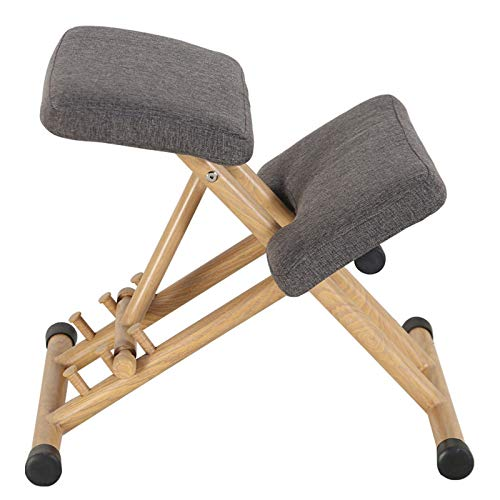 WITSY Ergonomic Kneeling Chair for Upright Posture Rocking Chair Knee Stool for Home, Office Meditation Wood Linen Cushion Relieving Back and Neck Pain Improving Posture