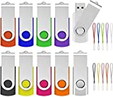 256MB USB Flash Drive 10 Pack, ABLAZE USB 2.0 Memory Stick with Lanyards Swivel Thumb Drives Bulk U Disk 256MB Pendrive Jump Drive Zip Drive for Data Storage (256MB,10 Pack, Mixcolor)