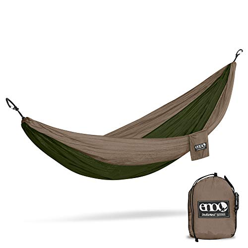 ENO Doublenest Hammock Khaki Olive Soft Breathable Fabric 70 Denier High Tenacity Nylon Taffeta Fast Dry Heavy Duty Triple Stitched Compression Stuffsack Aluminium Wiregate Carabiners Weight 539 g