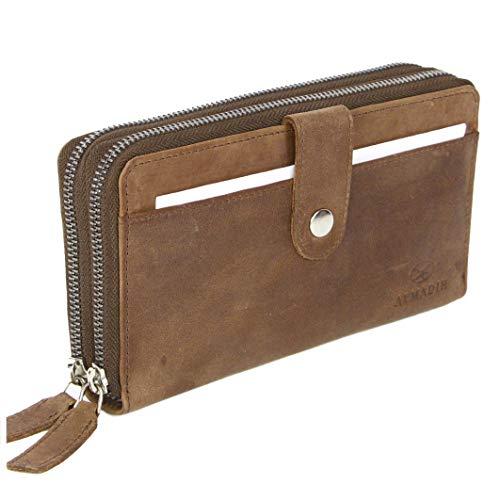 ALMADIH RFID Leder Damen Portemonnaie Giana Premium Rindsleder BV - 2 Metall-Reißverschlussfächer, 12 Kartenfächer, Handyfach mit Geschenkbox - Langbörse Geldbörse Brieftasche (grau)