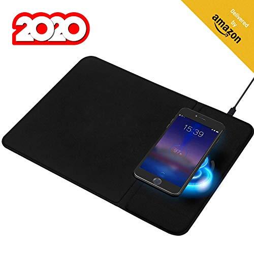 KLIM Makepad - Mauspad mit Wireless Charger + Halte deinen Schreibtisch in Ordnung + Ladestation kompatibel mit Apple iPhone Samsung Huawei LG und mehr + QI-Zertifikat + Büro-Mauspad + NEU 2020