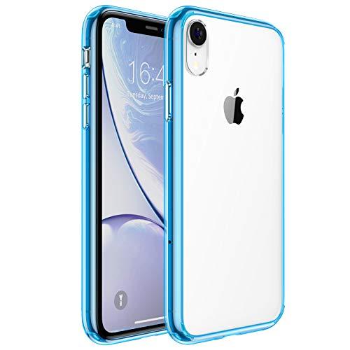 UNBREAKcable Kompatibel mit iPhone XR Hülle [Anti-Gelb und Kratzfest] - Handyhülle iPhone XR Ultra Clear, Hartplastik Rückseite und Weich Silikon Bumper Cover Durchsichtig Schutzhülle, Hülle - Blau