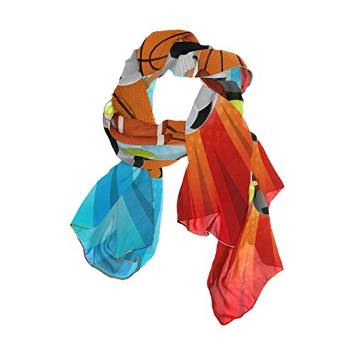 linomo - Bufanda de gasa para mujer, de seda, para baloncesto, fútbol, tenis, rugby, bádminton, béisbol, chal largo de seda