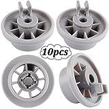 Lavastoviglie rotella - WENTS Cestino inferiore della roulette Ruote a Clip per Carrello Inferiore di lavastoviglie Bosch Neff & Siemens 165314 Confezione da 10