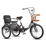 OHHG Triciclo Adultos, Triciclo Plegable 20 Pulgadas Cesta la Compra, Triciclo, Asiento Respaldo Bicicleta, Bicicleta Tres Ruedas Hombres, Mujeres, Ancianos, jóvenes