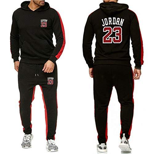 ZGRW 23# Jordan Baloncesto Uniforme De Chándal, Sudaderas Supportral Pendientes Sports Rousers Sports Traje Conjuntos Joggers Pantalones, Cómodo Traje Casual Black-XXL