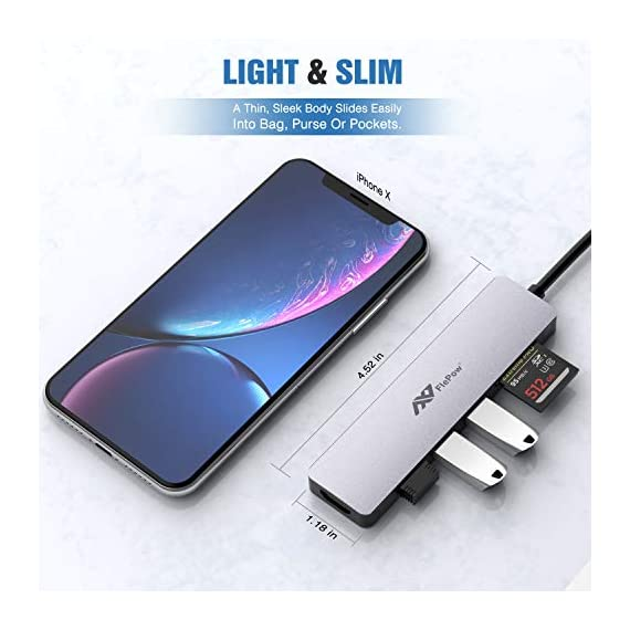 USB C Hub Multiport Adapter - 7 in 1 Portable Space Aluminum Dongle with 4K HDMI Output, 3 USB 3.0 Ports, SD/Micro SD… 5 Portable & Anti - overheat & plug and go - sleek compact with pocket size, 4. 5*1. 1*0. 4 in, Easy to set into your laptop sleeve, Bag or pocket. Premium space aluminum shell makes the USB C hub sturdy and durable, Also designed to prevent overheating, keeping you and Your devices secure. Plug and play, no software, drivers or complicated installation required. 7 in 1 design & massive expansion - 3 standard USB ports with 5Gbps transfer speed ensuring quick syncing and file sharing, 1 HDMI port with vivid 4K video output that transfers media in seconds with 3D effect, 2 SD card slots (one Micro SD) for superior data-storing versatility, and a USB - C power Delivery charging connector that makes the USB C adapter possible to connect any devices with USB - C ports —All possibilities in one hub. 4K HDMI Video Adapter for Stunning Pleasure - Extends your screen with the HDMI port and directly stream 4K UHD or Full HD 1080p video to HDTV, monitors, or projectors. FlePow USB C Hub brings you vivid 3D effect video sync. Perfect to stream a full HD movie on your HDTV; extend a 3D video game on your monitors or show your PPT through the projectors for office meetings.