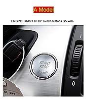 Wishful 車のスタイリングエンジンスタートストップスイッチボタン装飾カバーの装飾カバーBMW X5 X6 E70 E71 X5M X6Mインテリア自動車アクセサリー (Color Name : A Model Silver)