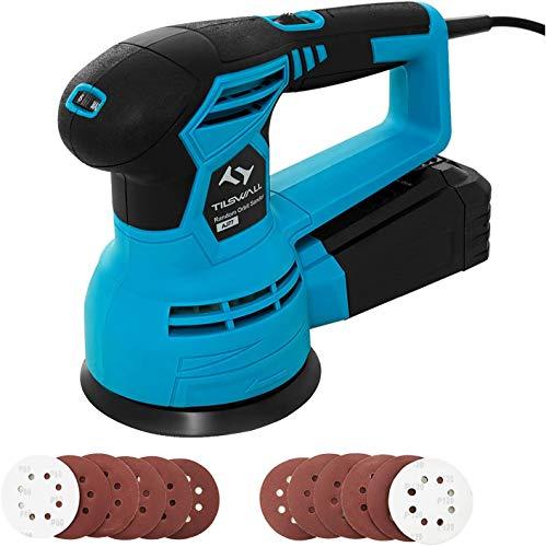 Exzenterschleifer Tilswall 450W Schleifmaschine 12000RPM, 6 Geschwindigkeit, 12 Stück Schleifpapier, Durchmesser: 125mm, fest montierte Staubbox, Ideal für Heimwerker, Schleifen, Polieren von Holz