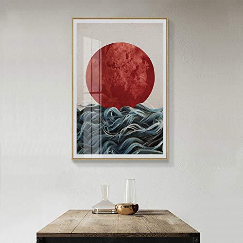 Abstrakte japanische Sonnenaufgang Poster und Drucke Wandkunst Leinwand Malerei Bilder für Wohnzimmer Home Decor 50x70cm