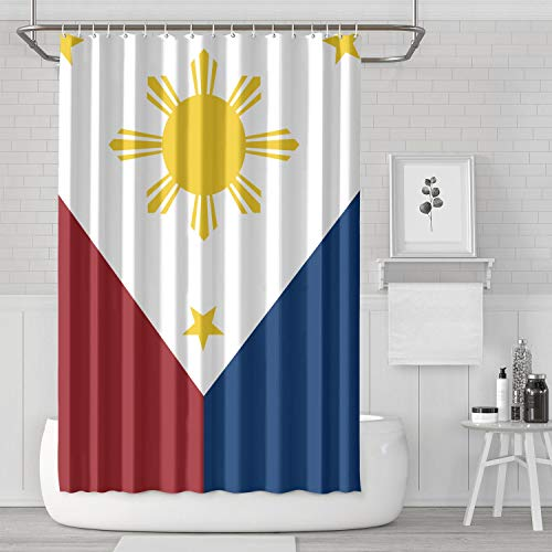 CRYHAT Shower Curtain with Hooks 70x70 Inches Filipino Flag Waterproof Decoration Bath Curtains for Bathroom