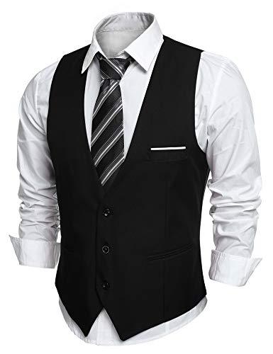 JINIDU Men's Slim Fit Wedding Waistcoat Casual Regular Fit Business Suit VestsL (chest: 46.3 in)Black
