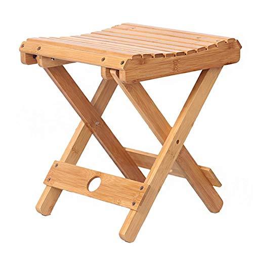 A/N Silla Plegable Cuadrada otomana - Taburete Cuadrado Plegable de bambú Multifuncional portátil para el hogar