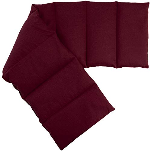 Almohada térmica compartimentada en 8 con huesos de cerezas 75x20cm | burdeos | Saco térmico para microondas | Calor y frío | Cojín térmico con semillas