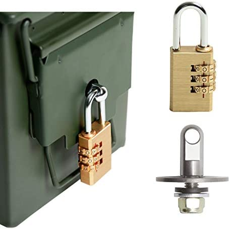 Aolamegs Ammo Box Can Lock Hardware Kit and Combination Padlock Fits All Ammo Box 50 Cal Fat product image