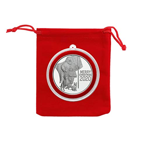 2020 - Merry Christmas Patriotic Santa Claus & Animals Silver Medallion in Ornament Holder and Red Velvet Gift Bag - Uncirculated