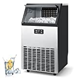 CROWNFUL Commercial Ice Maker 100Lbs/24H, Stainless Steel Ice Machine with 33Lbs Ice Storage Capacity, Free-Standing Under Counter ice...