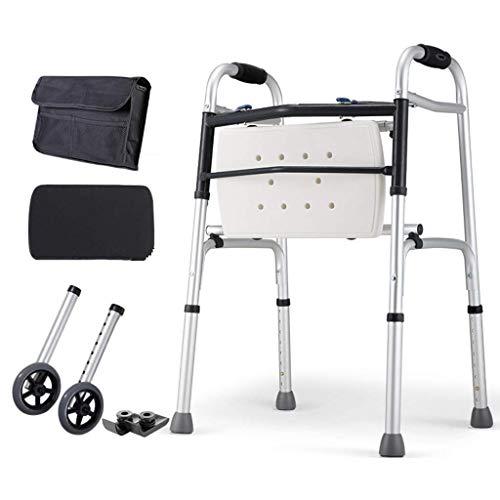 JHDPH3 Walker Ancianos lti-Funcional Bastón 4 pies Auxiliar Walker aleación de Aluminio de Material Plegable for recorrer Mayor asistidas y Deportes Entrenamiento de rehabilitación