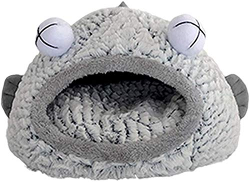 Funny Fish-shaped Cat Bed Cave With Washable Plush Cushion Pet Nest Sofa Kitten Puppy Non-Slip Waterproof Moisture-proof Pet House For Indoor Cat And Small Dog (Color : Grey, Size : L(50x50x35cm))
