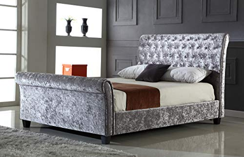 Design Vicenza Rivello - Letto matrimoniale in velluto riccio, colore: Argento