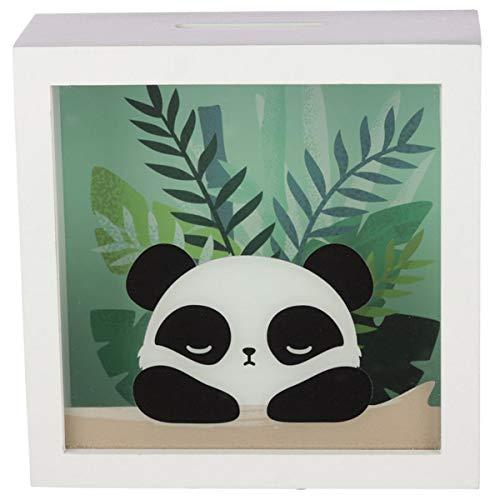 Spardose Panda mit Sichtfenster, Sparkästchen zum Hinstellen, niedliches Panda-Motiv und Pflanzen im Hintergrund, für Geldgeschenk, 18 x 18 x 7 cm, Holz und Kunststoff, ideal für Panda-Fans