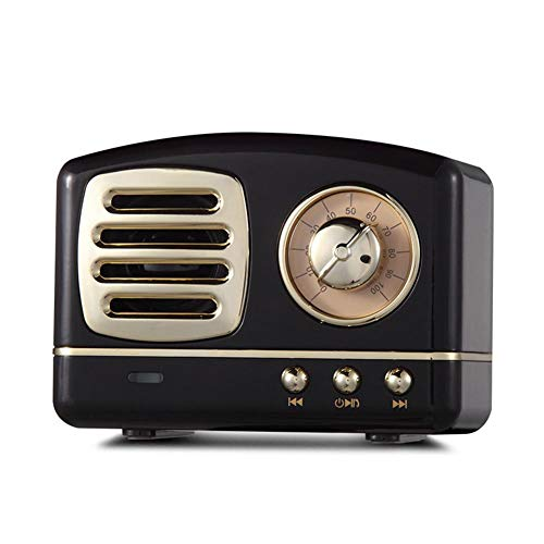 Bluetooth-Lautsprecher, Retro, Stereo, Mini, Vintage, kabellos, Nostalgic Bass Weigh Mallalah Wiedergabe, sehr lange Lebensdauer, USB-Ladekabel, tragbar Schwarz