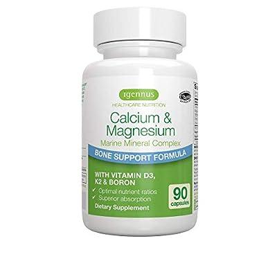 Calcium & Magnesium, 2:1 Plant Based Mineral Complex with Boron, Vitamin D3 & K2, High Absorption Bone Support Formula with Cofactors, Vegan, 90 Capsules, by Igennus