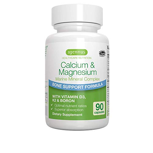 Calcium & Magnesium, 2:1 Plant Based Mineral Complex with Boron, Vitamin D3 & K2, High Absorption Bone Support Formula with Cofactors, Vegan, 90 Capsules, by Igennus