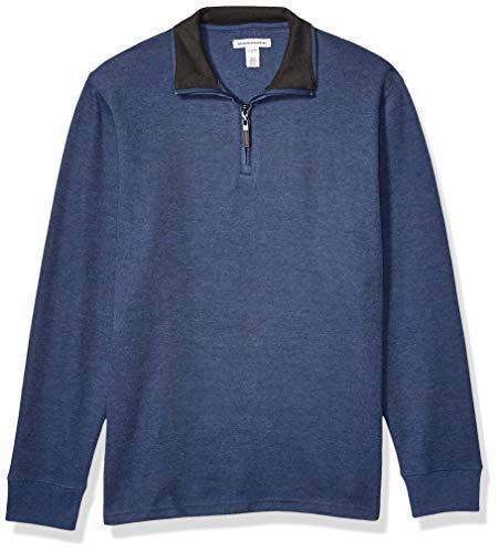 Amazon Essentials Men's Quarter-Zip French Rib Sweater, Blue Heather, Large