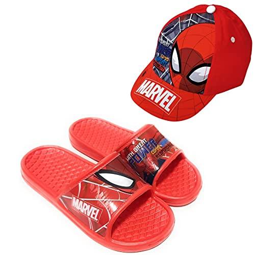 Chanclas Spiderman Marvel Flip-Flop para Playa o Piscina + Gorra Spiderman para Niños (Rojo, Numeric_30)