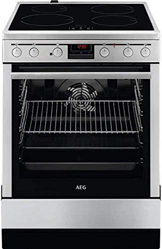 AEG CIB56400BX 50 cm Standherd mit Induktions-Kochfeld / SteamBake – mit Feuchtigkeitszugabe / Versenkknebel / Grillfunktion / Display mit Uhr / A