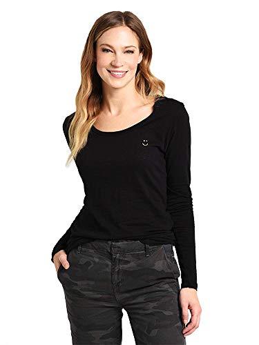 SUNDRY Women's Happy Face Long Sleeve Tee-3-Black
