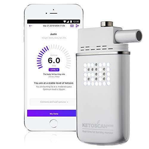 V2 KETOSCAN Mini medidor de cetonas de aliento | Monitoriza tu metabolismo graso nivel de cetosis en bajos en carbohidratos, cetogénicos o cualquier programa de nutrición y fitness