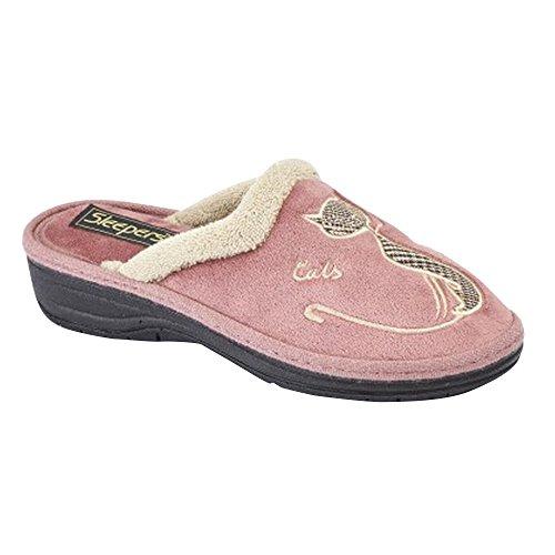 Boulevard - Zapatillas de Estar por casa Abiertas con Bordado de Gato para Mujer (38 EU/Rosa)