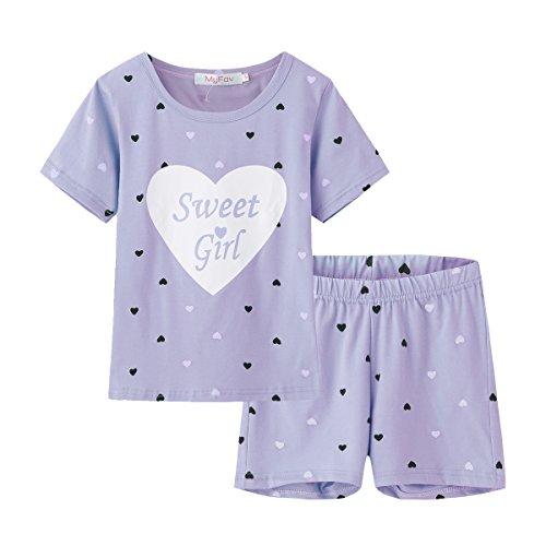 MyFav Big Girls Summer Pajama Set Heart Shape Printed Cute Sleepwear Shorts Purple 10 Years