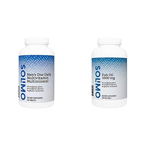 Amazon Brand - Solimo Men's One Daily Multivitamin Multimineral, 365 Tablets, Value Size - One Year Supply & Solimo Fish Oil 1000 mg, 250 Softgels, Eight Month Supply