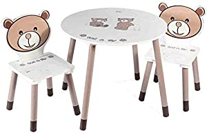 EXCLVEA-TCS Baby Activity Table- Wooden Table  amp  Chairs Play Room Table And Chair Set Activity Kids Table Baby Play Table  Color White  Size 60x50 28x56cm
