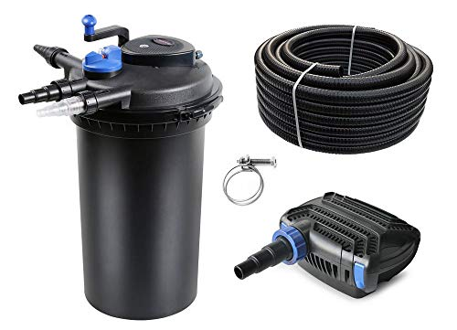 AquaOne Teich Filteranlage Set Nr.23 CPF 15000 Druckfilter 80W Eco Teichpumpe Teichgröße bis 30000l Teichschlauch Bachlauf UV Lampe