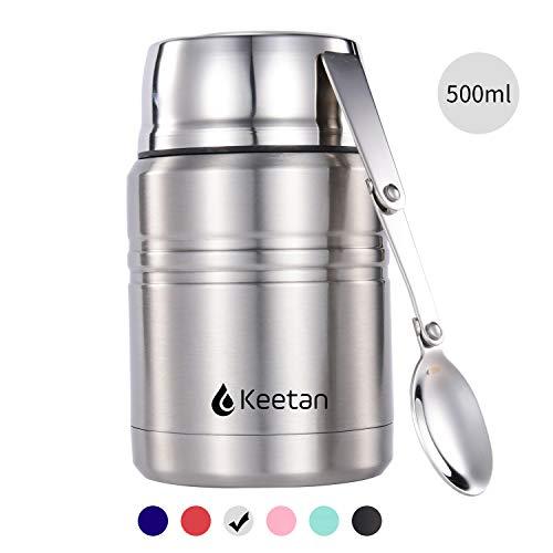 Keetan Speisebehälter Thermobehälter 500 – 750 ml, mit Faltbarem Löffel, Premium Edelstahl - Isolierbehälter Lunchbox, für Getränke, Warme Speisen, Babynahrung, Suppe